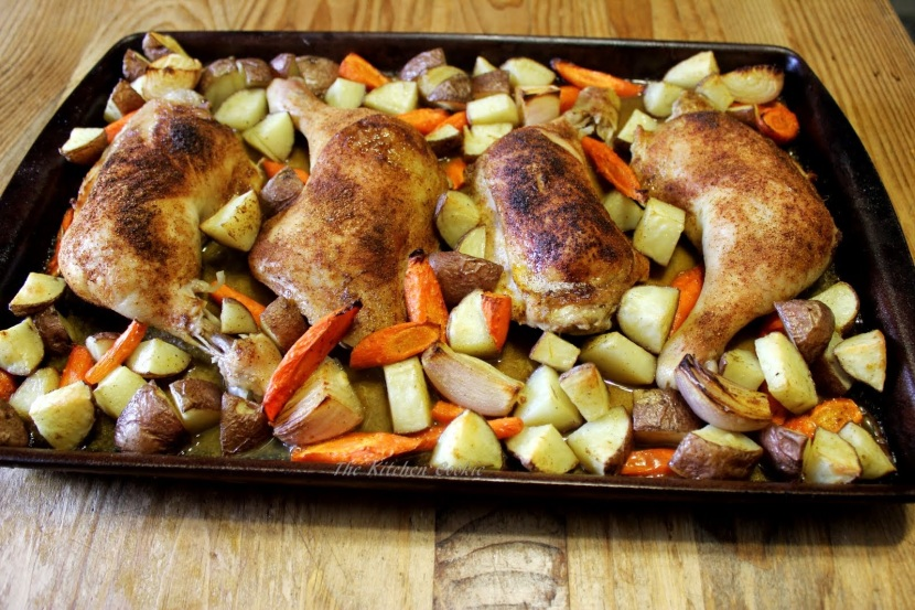 flowers and roasted chicken legs with veggies 007
