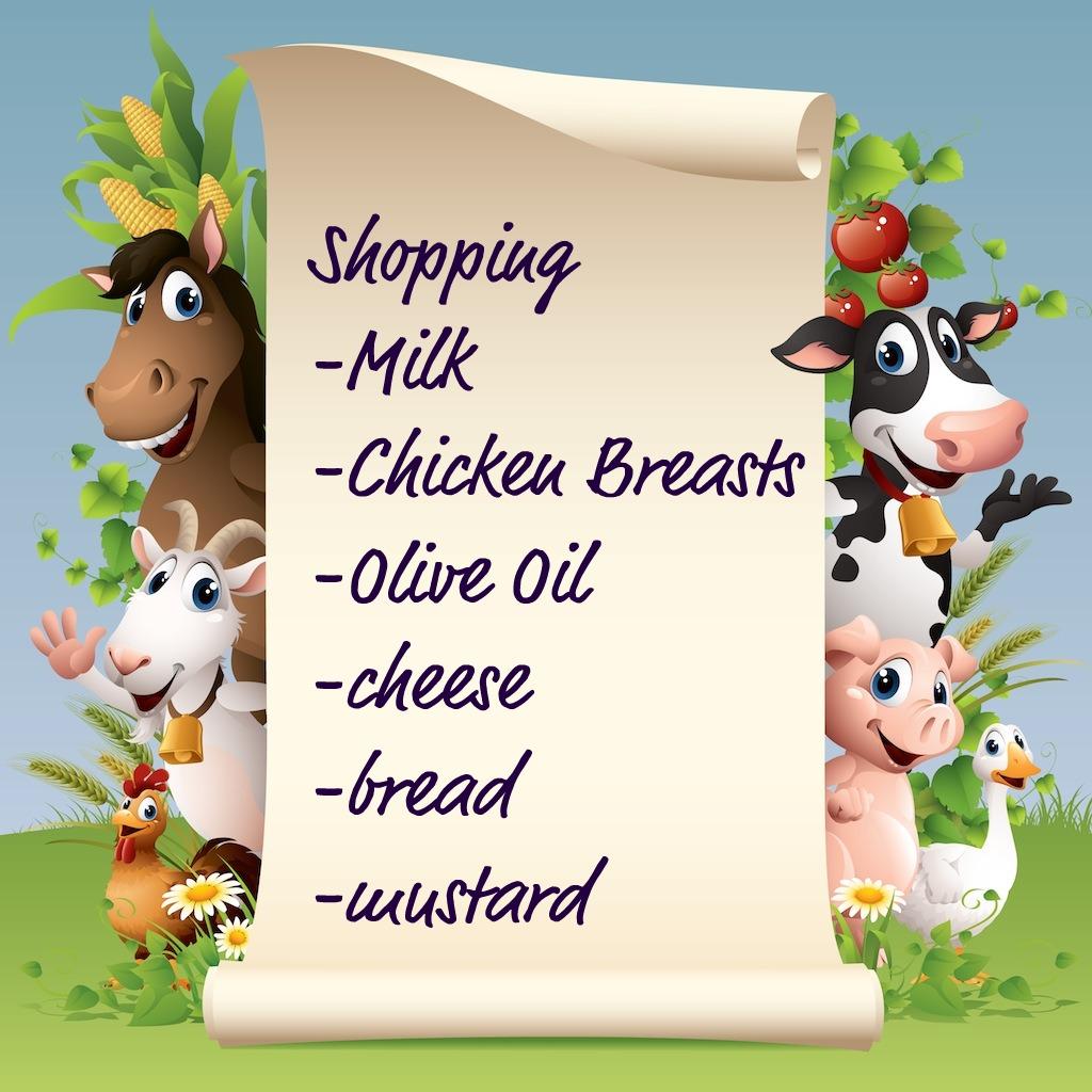 word shopping list