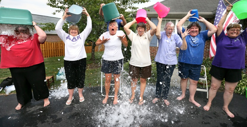 "Current and retired educators from the Winchester, Va. area, all members of the Beta Iota chapter of the Alpha Delta Kappa fraternity, take part in the social media phenomenon, the ALS ice bucket challenge, to raise funds to combat Amyotrophic lateral sclerosis (ALS), also referred to as ""Lou Gehrig's Disease,"" Monday, Aug. 18, 2014, in Winchester, Va. From left are Karen McCoy, Kaye Reams, Betty Saunders, Jackie Brondstater, Judy Fogle, Toni O'Connor and Melody Harmon. (AP Photo/The Winchester Star, Jeff Taylor)"